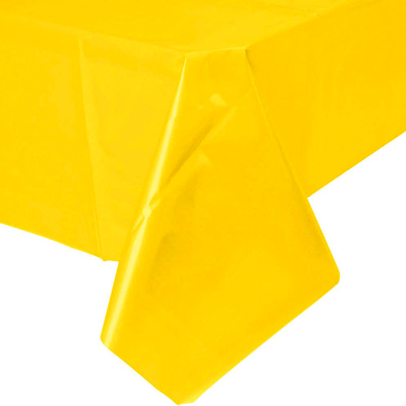 yellow plastic table cover – 1,3 x 2,7 m – rainbox – party supplies